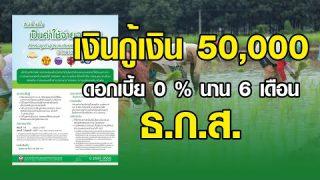 เงินกู้ฉุกเฉิน ธ.ก.ส 50,000 บาท ดอกเบี้ย 0 % อนุมัติทันที!!